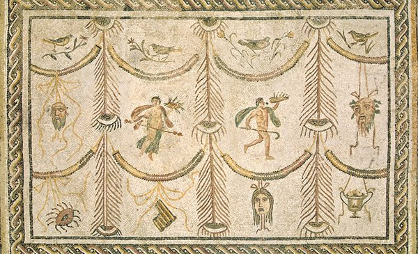 Roman 3rd Century Symbols of Bacchus as God of Wine and the Theater, c. 200/225 A.D. mosaic - Image from the National Gallery of Art.