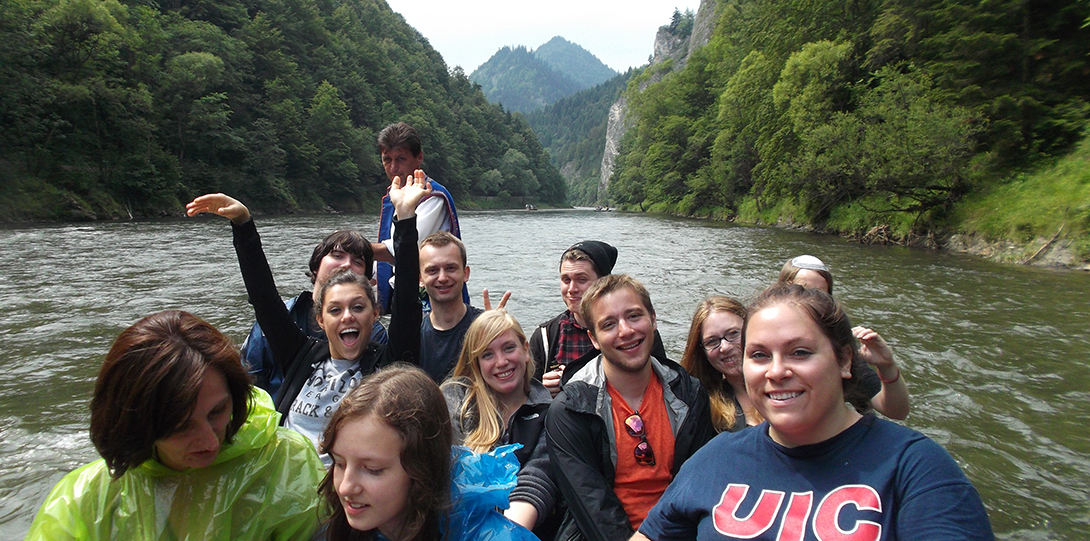 Group of UIC students in boating in Poland