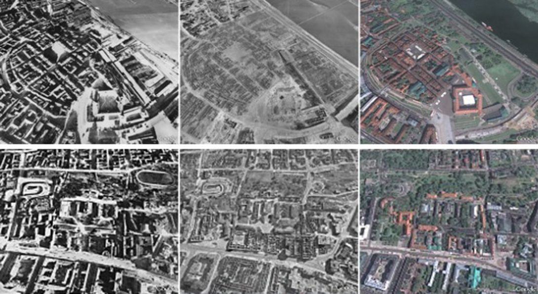Ariel views of Warsaw at different time periods