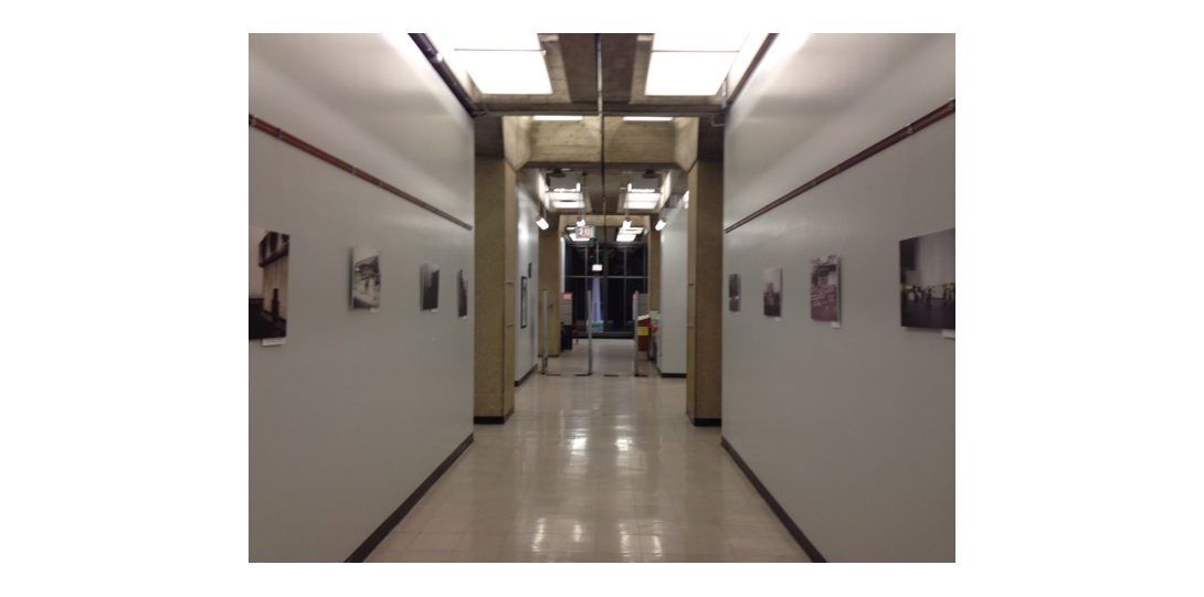 photography exhibition in a hallway